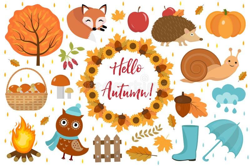 Cześć jesieni ikona ustawiający mieszkanie lub kreskówka styl Inkasowi projektów elementy z liśćmi, drzewa, pieczarki, bania, dzi ilustracji