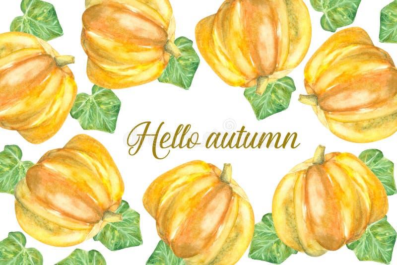 Cześć jesieni karta z pumkins ilustracji