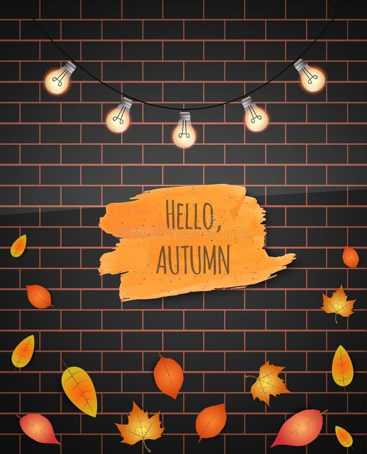 Cześć jesieni muśnięcia uderzenie również zwrócić corel ilustracji wektora tło wizerunku rastre ceglana ściana objętych liście gi ilustracji