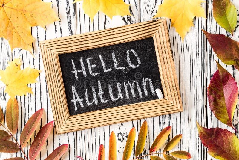 Cześć jesieni powitania tekst na chalkboard Odg?rny widok obraz royalty free
