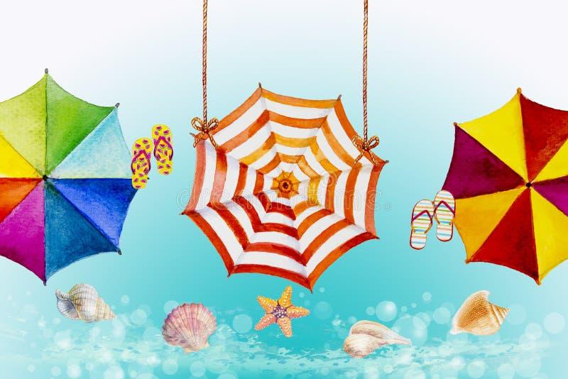 Cześć lato akwarela maluje kolorowego parasol ilustracja wektor