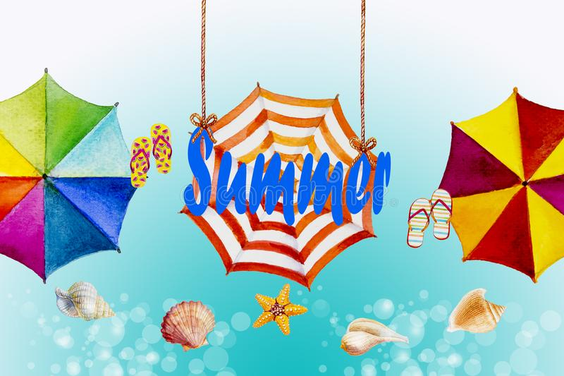 Cześć lato akwarela maluje kolorowego parasol ilustracji