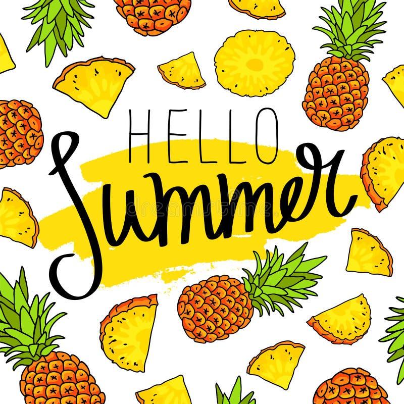 Cześć lato barwniki ilustracji obrazu ananasa wody ilustracja wektor