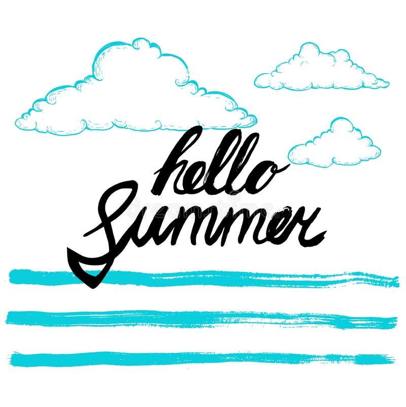 Cześć lato czarnej ręki pisać zwrot na stylizowanym tle kaligrafia Wpisowy atramentu lato cześć Ręki rysować nakreślenie chmury royalty ilustracja