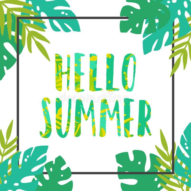 Cześć lato czarny rama opuszczać tropikalnego biel ilustracja wektor
