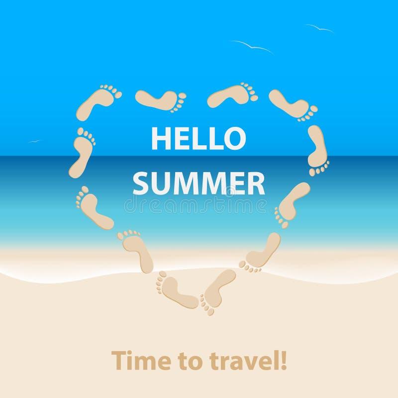 Cześć lato, czas podróżować Seascape z piaskowatą plażą wav i ilustracji