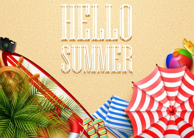 Cześć lato czasu wakacje sztandar Odgórny widok tropikalni liście i plażowe element kolekcje na piaska tle ilustracja wektor