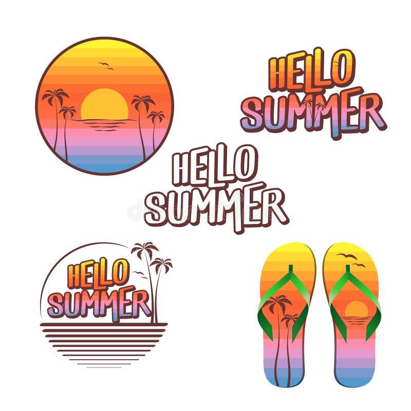 Cześć lato ilustracja ustawia maluje z zmierzchów kolorami - logo, tekst, trzepnięcie klapy - ilustracji