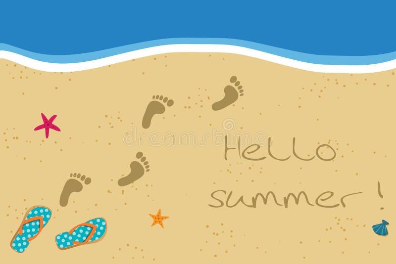Cześć lato ilustracja z trzepnięcie odciskami stopy na piaskowatej plaży tle i klapami ilustracji
