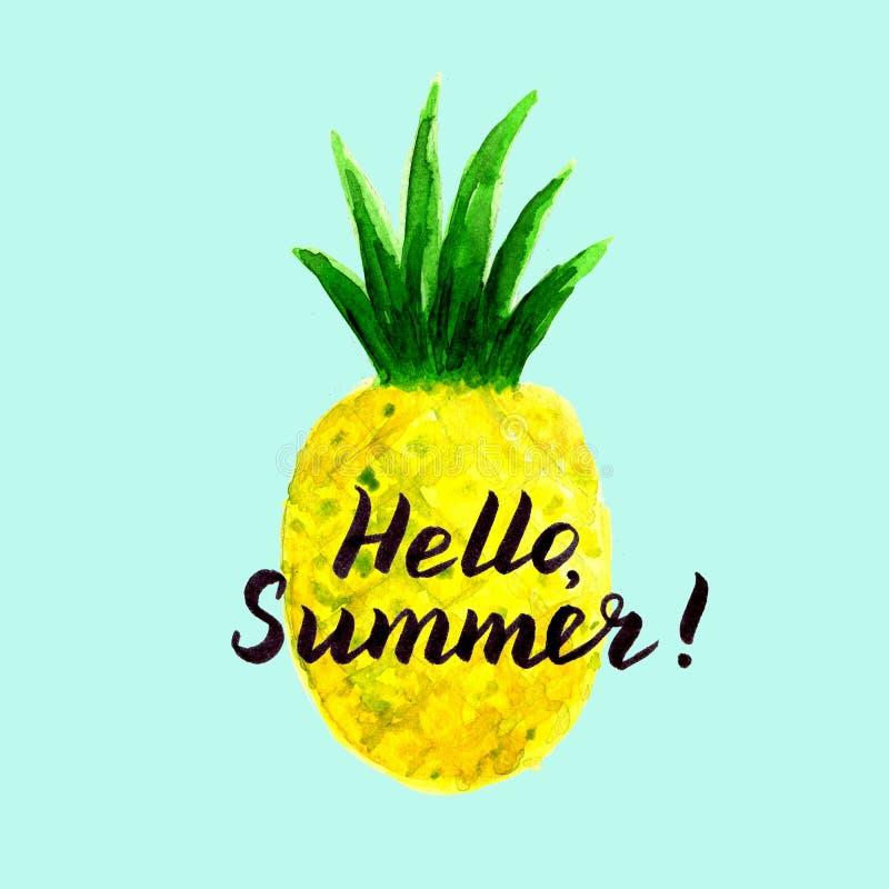 Cześć lato karta z akwareli ananas ilustracji