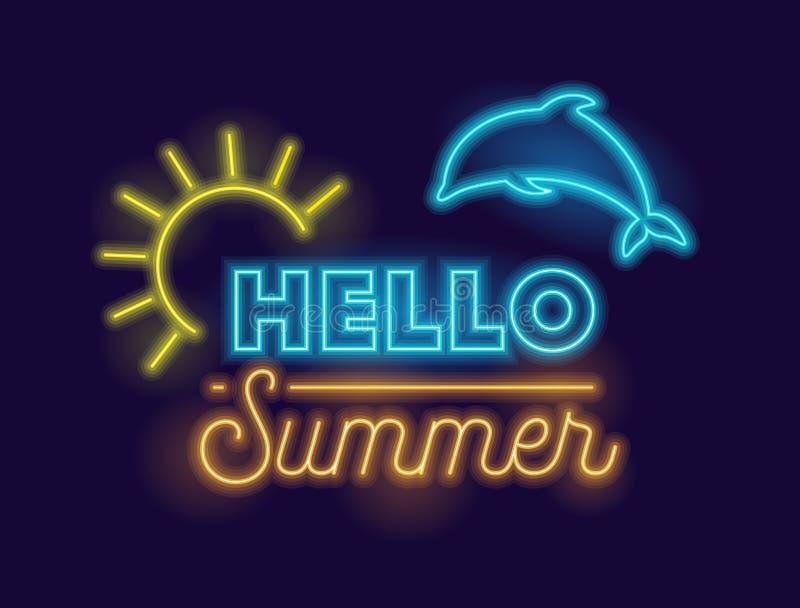Cześć lato Kreatywnie sztandar z Wysoce Szczegółowym Realistycznym Neonowym Rozjarzonym słońcem i delfinem na zmroku - błękitny t ilustracja wektor