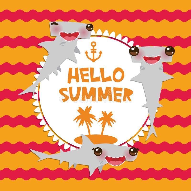 Cześć lato kreskówki Gładkiego hammerhead Winghead szary rekin Kawaii z różowymi policzkami i mrugać przygląda się uśmiecha się R ilustracji
