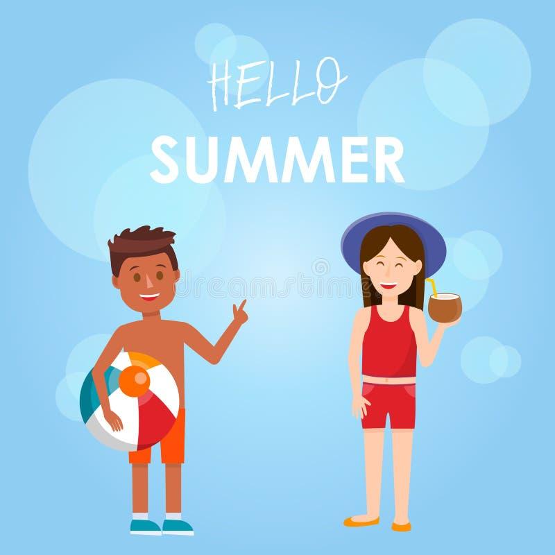 Cześć lato Kwadratowy sztandar Śliczni dzieciaki w Swimsuit ilustracja wektor