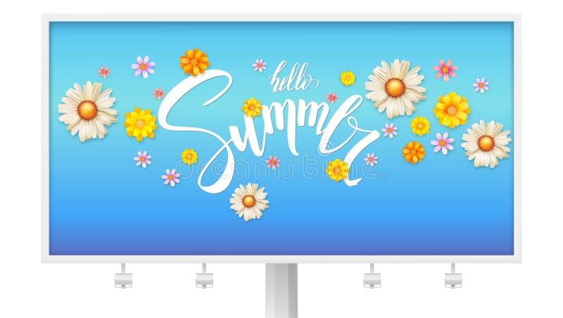 Cześć lato kwitnie, kwiecisty abstrakta wzór z pączkiem wiosna Billboard z teksta projektem i stokrotkami, chryzantemy ilustracji