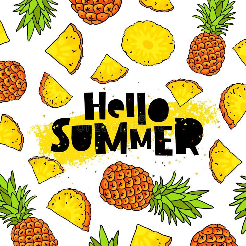 Cześć lato literowanie ananasy ilustracji