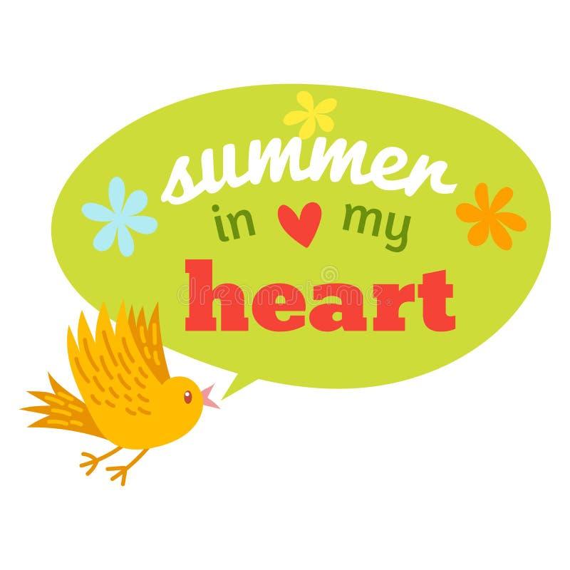Cześć lato logo typograficzny znak na witki tle Denne rośliny, słońce, plażowy morze i podróż wektoru ilustracja, obraz royalty free