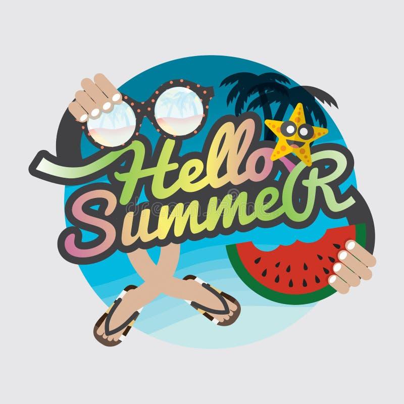 Cześć lato odznaki projekt ilustracja wektor