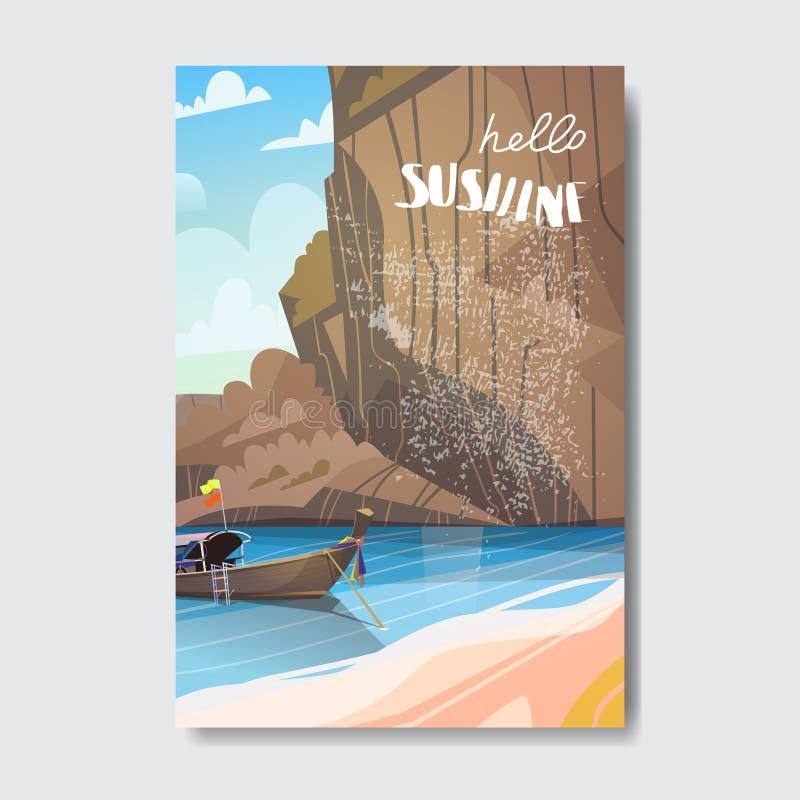 Cześć lato odznaki projekta plażowa łódkowata halna etykietka Przyprawia wakacje pisze list dla loga, szablony, zaproszenie, powi ilustracji