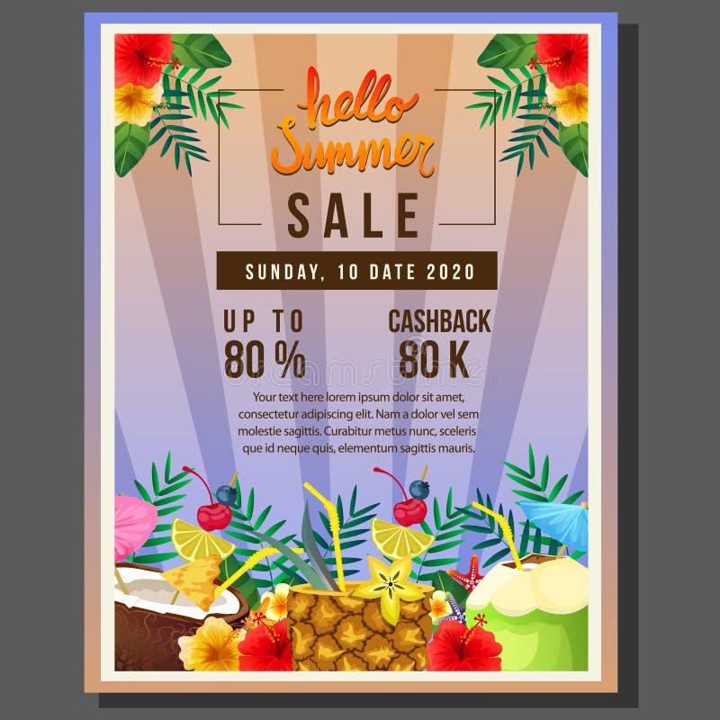 Cześć lato plakatowa sprzedaż z koktajlu napojem ilustracja wektor