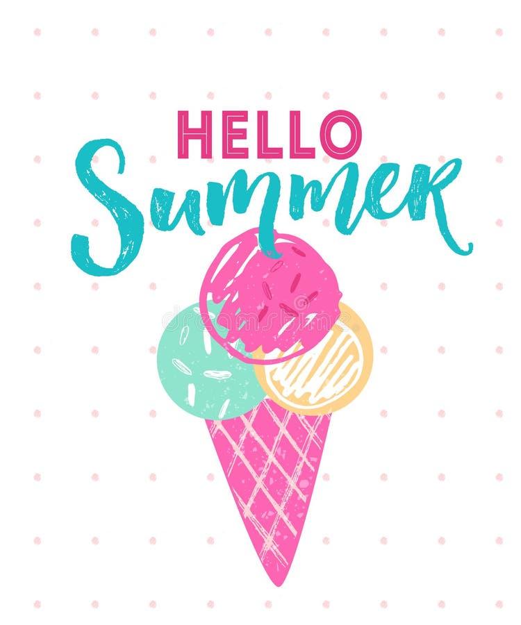 Cześć lato podpis z 3 piłkami lody w rożku Wektorowa ręka rysująca ilustracja ilustracja wektor