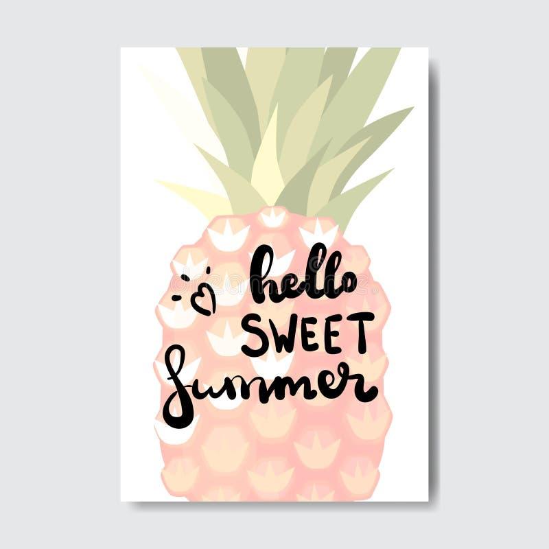 Cześć lato projekta ananasowa odznaka Odizolowywająca Typograficzna etykietka Przyprawia wakacje pisze list dla loga, szablony, z ilustracji