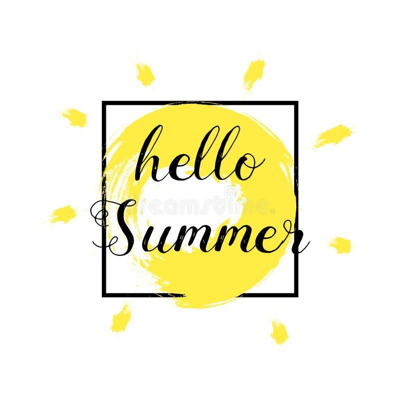Cześć lato również zwrócić corel ilustracji wektora Grunge textured szczotkarskiego żółtego uderzenia modny 3 d ivy logo na lata  ilustracji
