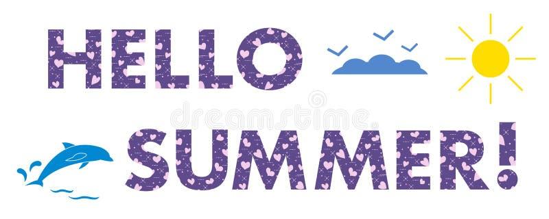 Cześć lato Słońce, serca, delfin ilustracji