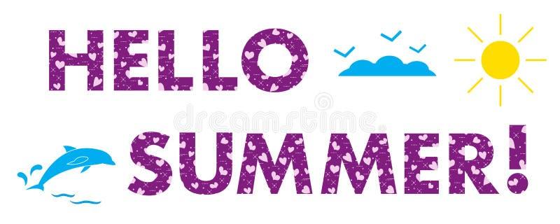 Cześć lato Słońce, serca, delfin royalty ilustracja