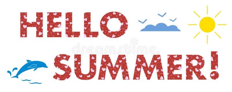 Cześć lato Słońce, serca, delfin ilustracja wektor