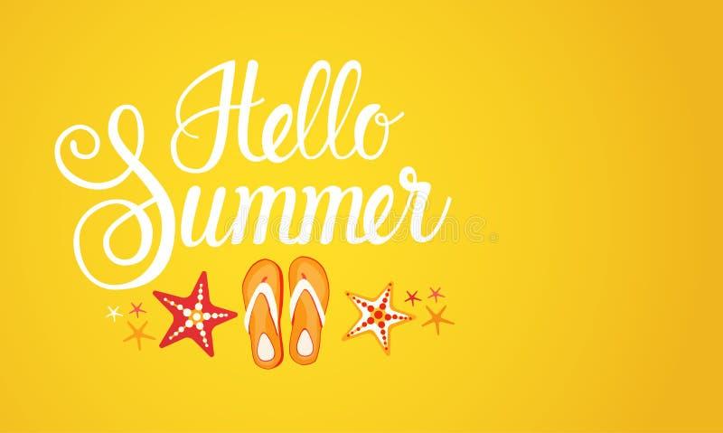 Cześć lato sezonu teksta sztandaru Abstrakcjonistyczny Żółty tło ilustracji