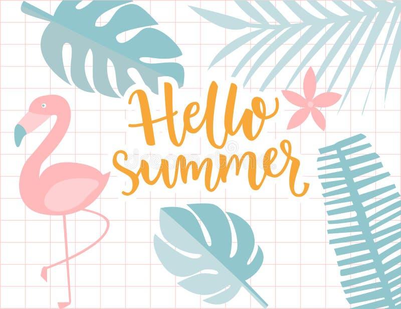 Cześć lato sztandar, tropikalna rama z palmowym ulistnieniem i flaming, Kaligrafia tekst, pastel zieleń i kolorów żółtych kolory, ilustracji