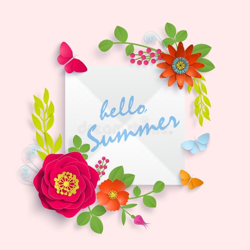 Cześć lato sztandaru szablon dla reklamować, zaproszenia lub plakata sprzedaży z papierową sztuką, kwitnie tło Wektoru zapas ilustracja wektor