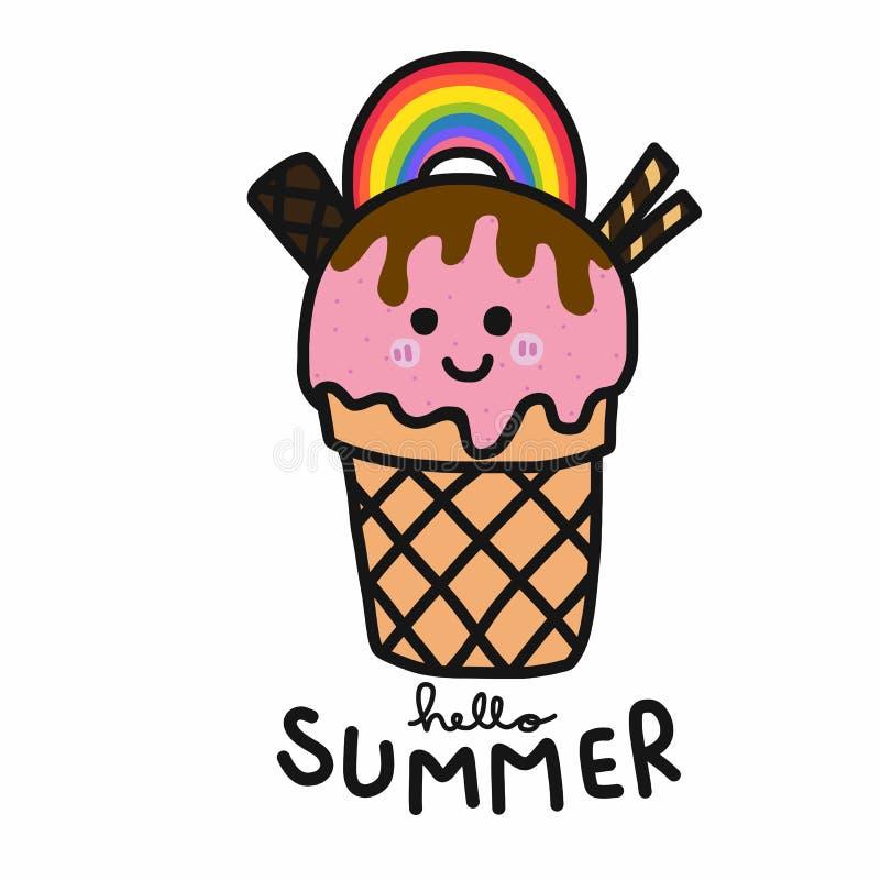 Cześć lato tęczy lody uśmiechu twarzy kreskówki doodle wektorowy ilustracyjny styl ilustracji