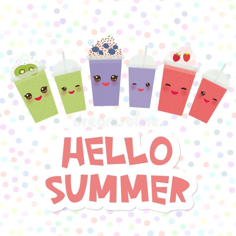 Cześć lato Wybiera twój smoothies karcianego projekta kiwi czarnej jagody Takeout truskawkowego malinowego smoothie przejrzysta p royalty ilustracja