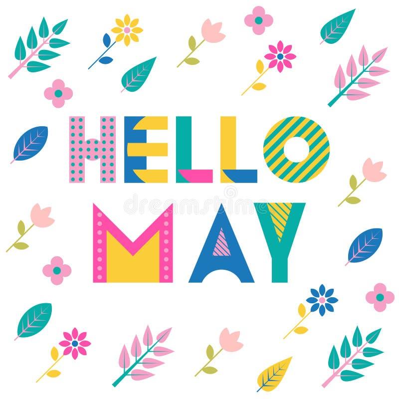 Cześć May Modna geometryczna chrzcielnica Tekst, ulistnienie i kwiaty odizolowywający na białym tle, Memphis styl royalty ilustracja