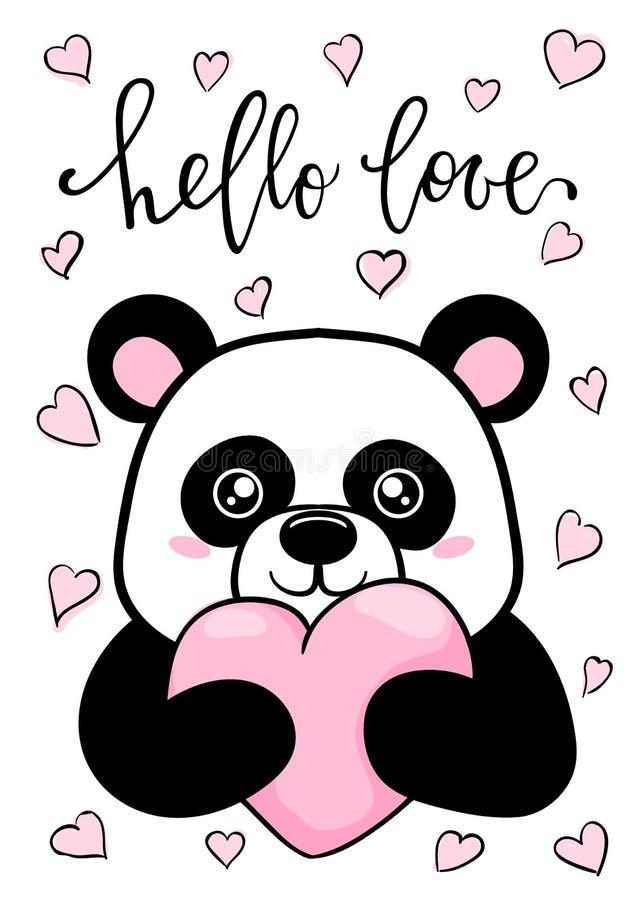Cześć miłość Wręcza patroszoną kreatywnie kaligrafię i szczotkuje pióra literowanie Śliczna panda trzyma dużego serce Projekt dla ilustracja wektor
