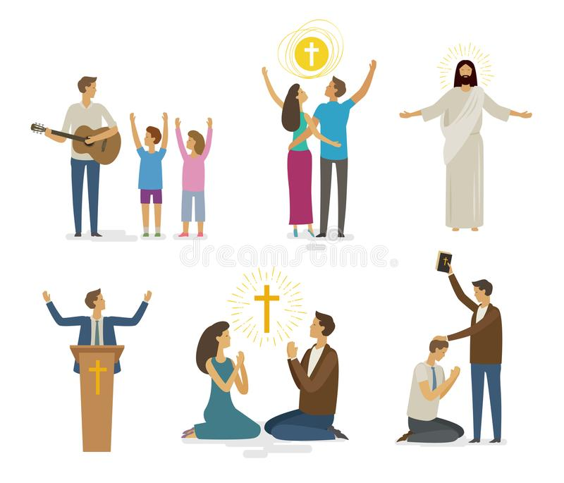 Cześć, modlitwa, wiary ikony set książkowa pojęcia krzyża religia również zwrócić corel ilustracji wektora ilustracji