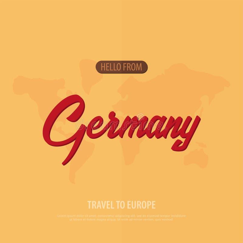 Cześć od Niemcy Podróż Europa Turystyczny kartka z pozdrowieniami również zwrócić corel ilustracji wektora royalty ilustracja