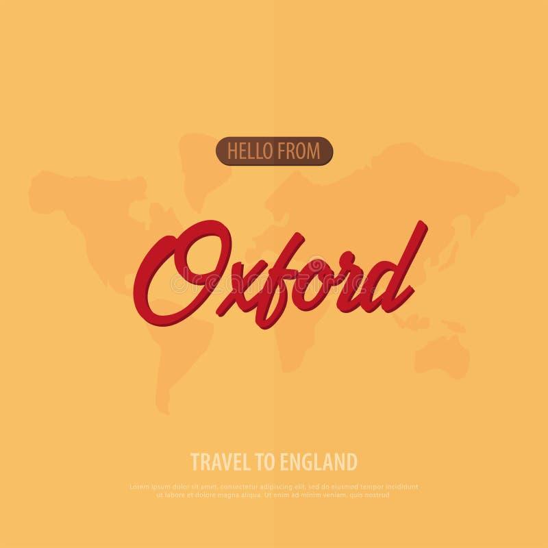 Cześć od Oxford Podróż Anglia Turystyczny kartka z pozdrowieniami również zwrócić corel ilustracji wektora royalty ilustracja
