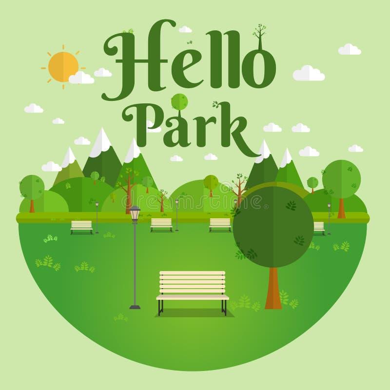 Cześć park Naturalny krajobraz w płaskim stylu Piękny park Ekologicznie życzliwy naturalny krajobraz ilustracja wektor