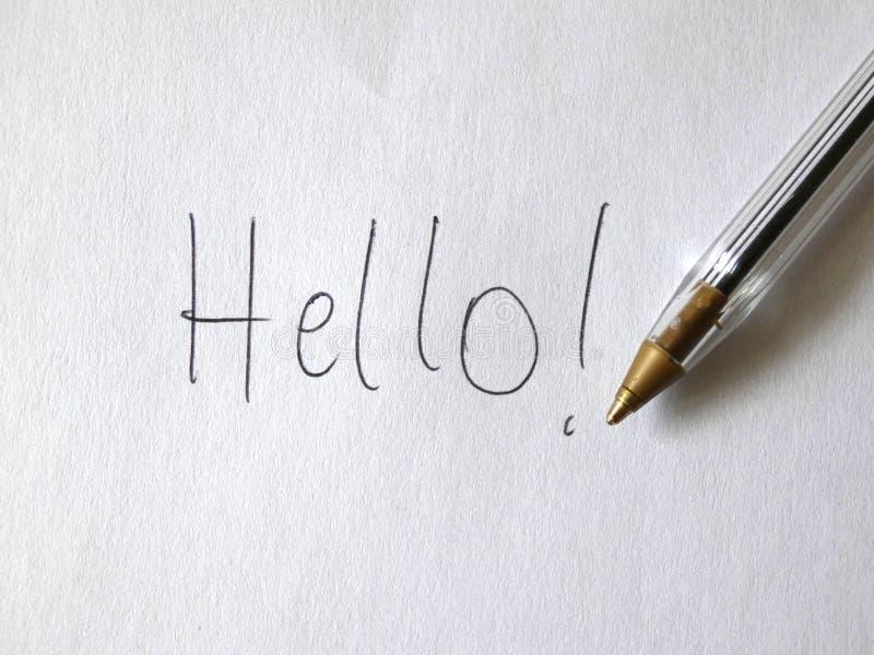 Cześć pióro Ręcznie pisany Na papierze zdjęcia stock