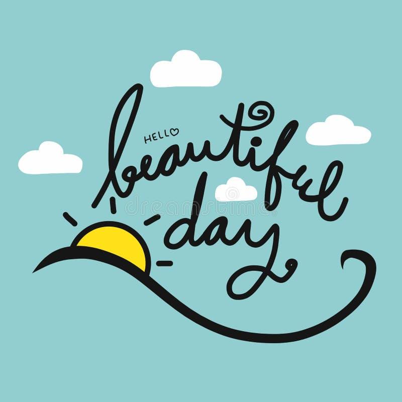 Cześć piękna dnia słowa literowania ilustracja na ślicznym niebieskim niebie ilustracji