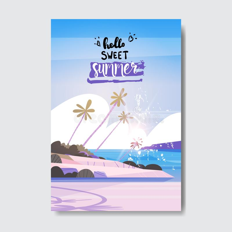 Cześć słodka lato krajobrazu drzewka palmowego plaży odznaki projekta etykietka sezonów wakacje pisze list dla loga, szablony royalty ilustracja