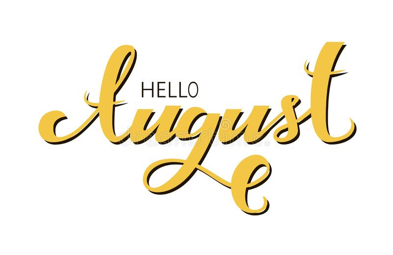 Cześć Sierpniowy literowanie zwrot z żółtym kolorem royalty ilustracja