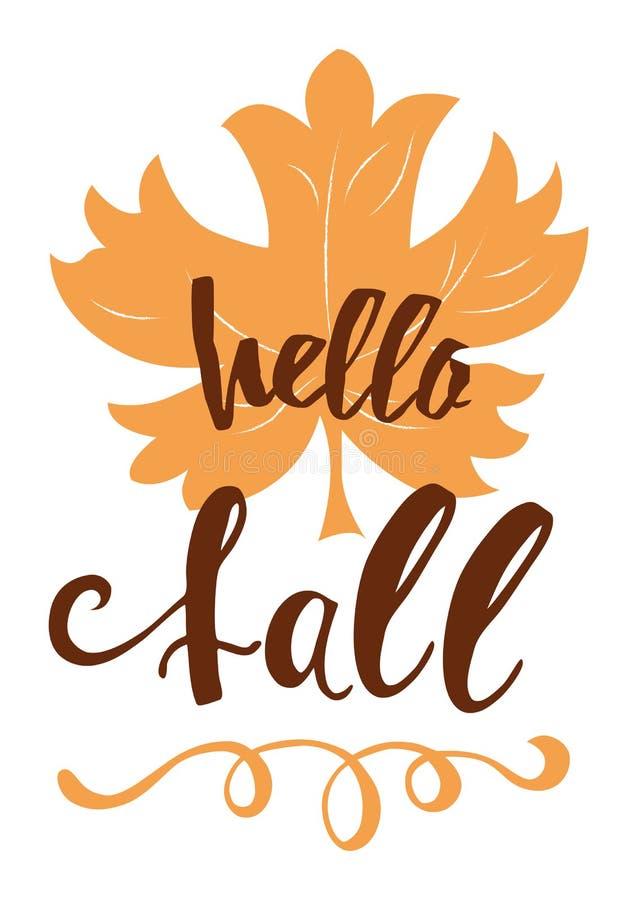 Cześć spadek jesieni ręka pisać inskrypcja na pomarańczowa ręka rysującym liściu klonowym ilustracji