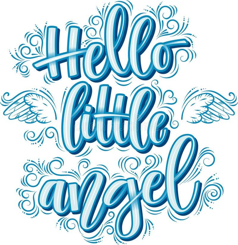 Cześć trochę anioła literowanie w błękitnej inskrypcji odizolowywającej na białym tle royalty ilustracja