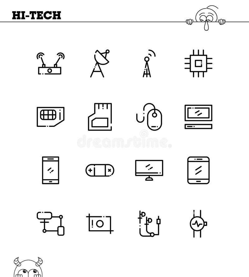 cześć ustalona ikony technika ilustracja wektor