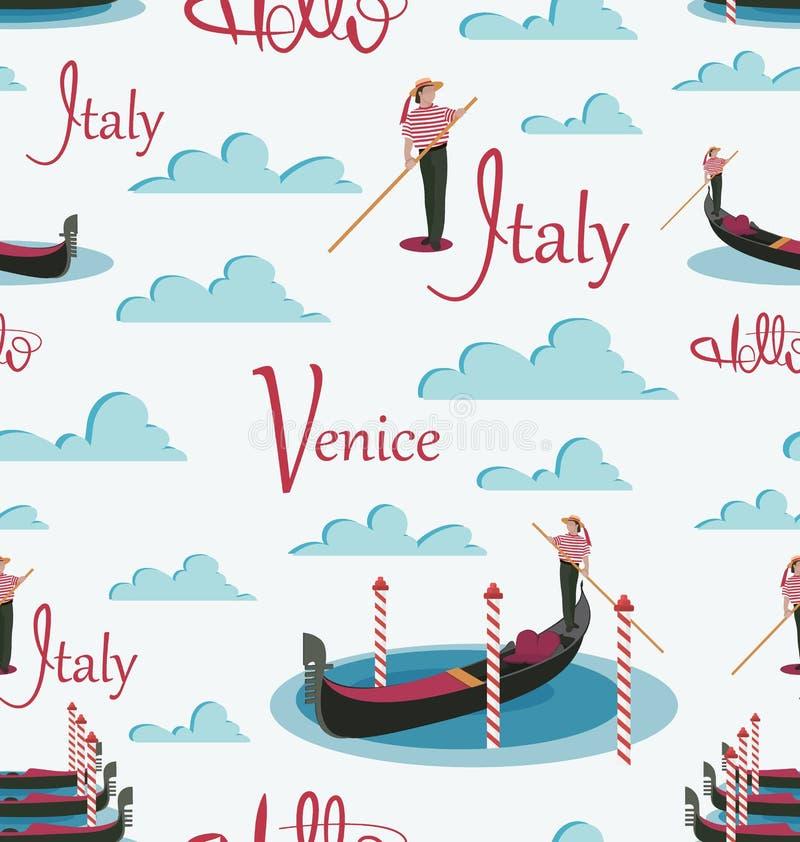 Cześć, Włochy, Wenecja Gondole i gondolier ilustracja wektor