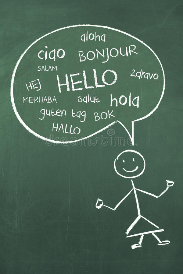 Cześć w Różnych Międzynarodowych Globalnych językach obcych Bonjour Ciao Hola ilustracji