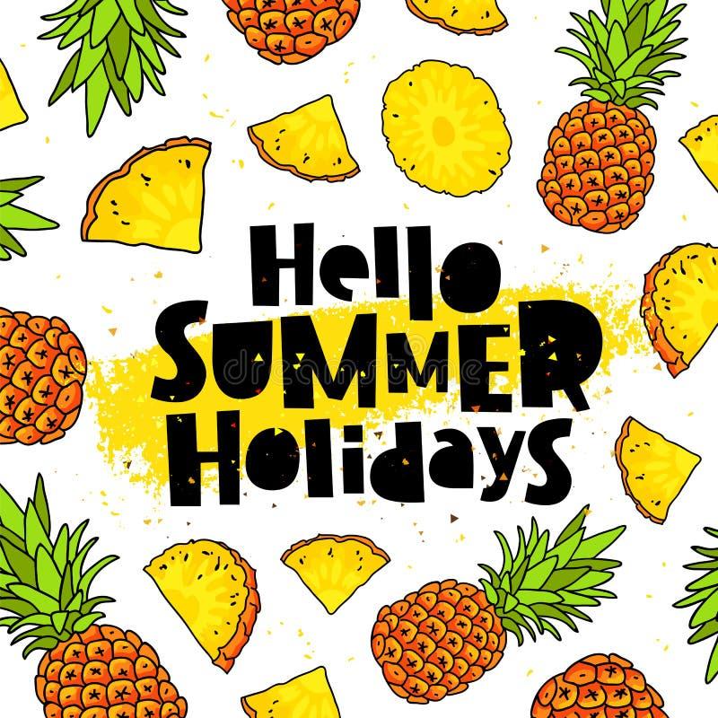 Cześć wakacje letni ananasy ilustracja wektor